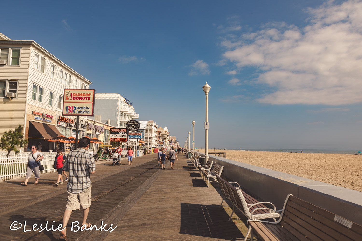 Boardwalk and Ocean at Ocean City Maryland